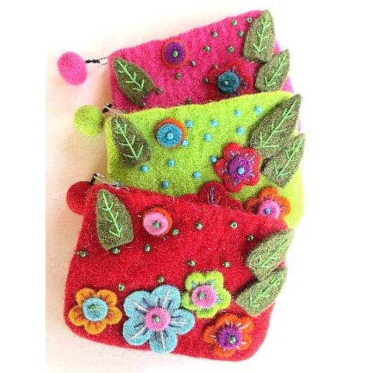 EMbroidered Flowers Felted Wool Coin Purse