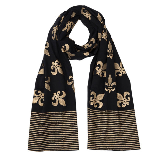 Fleur de Lis Cotton Scarf - Black and Gold