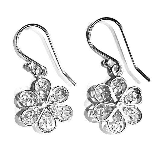 Handmade and Fair Trade Sterling Silver Filigree Flower Drop Earrings