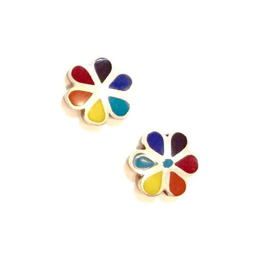 Sterling Silver and Stone Flower Stud Earrings