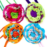 Flower headband made of swimsuit offcuts and features double elastic