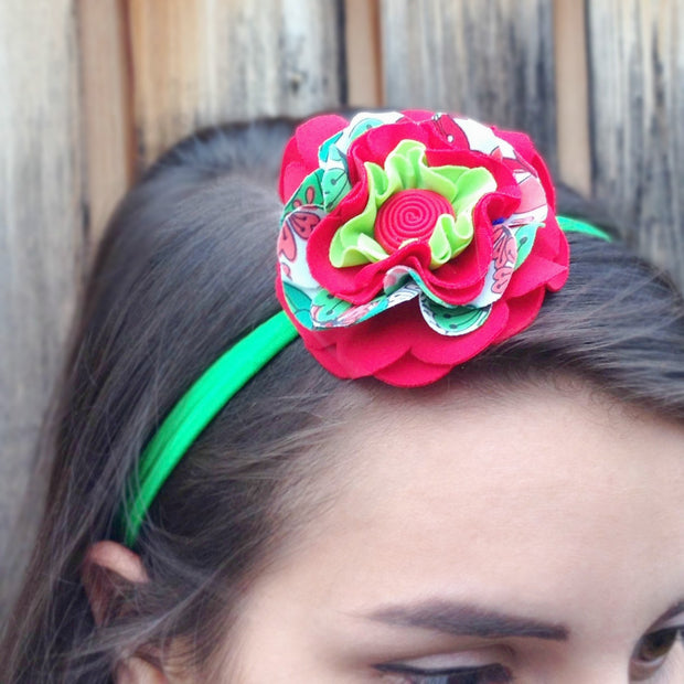 Flower hairband made of swimsuit offcuts and double elastic-lifestyle