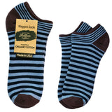 Organic Cotton Navy Blue Stripe Footie Sock Two Sizes
