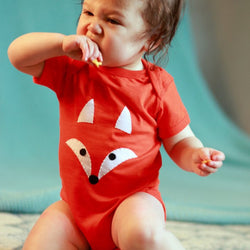 Cotton Onesie with Fox Face Applique