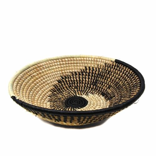 Decorative Sisal Fiber and Banana Leaf Fruit Basket - Spiral side view