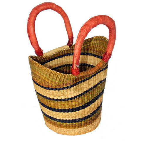 Mini Shopping Tote Basket with Leather Handles