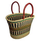 V-Shape Oval Basket with Leather Handles