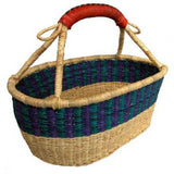 Handmade and Fair Trade Short Oval Basket with Leather Handles