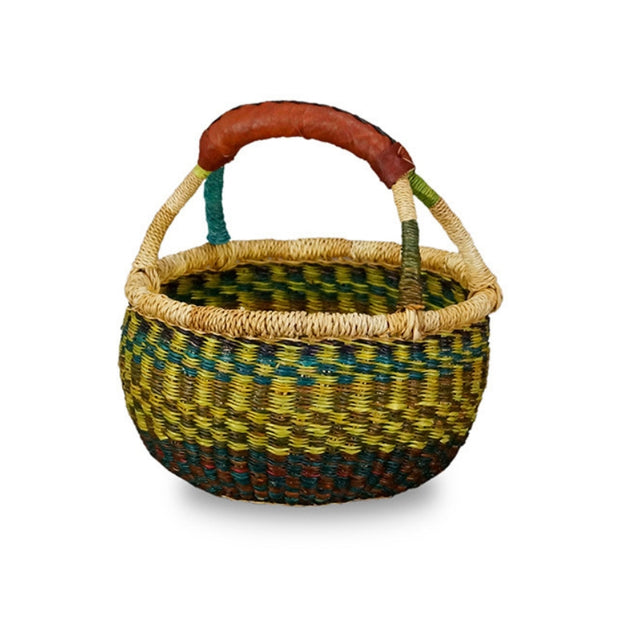 G-149A Bolga Mini Round Basket with Leather Handle version 2