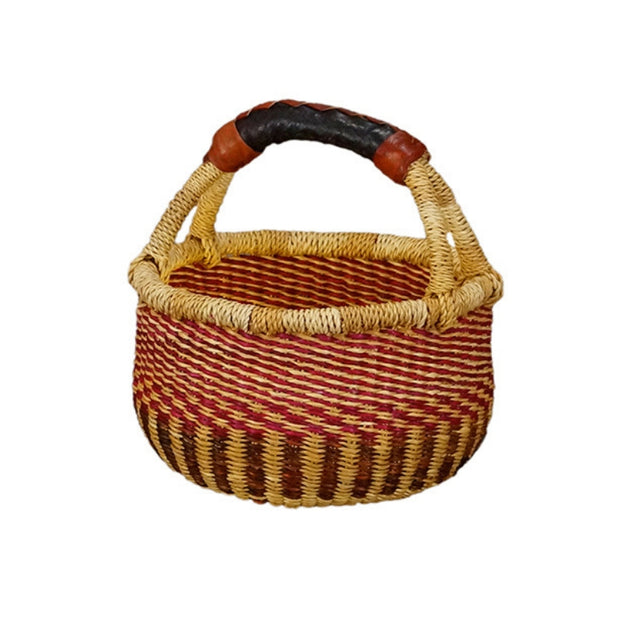 G-149A Bolga Mini Round Basket with Leather Handle version 1