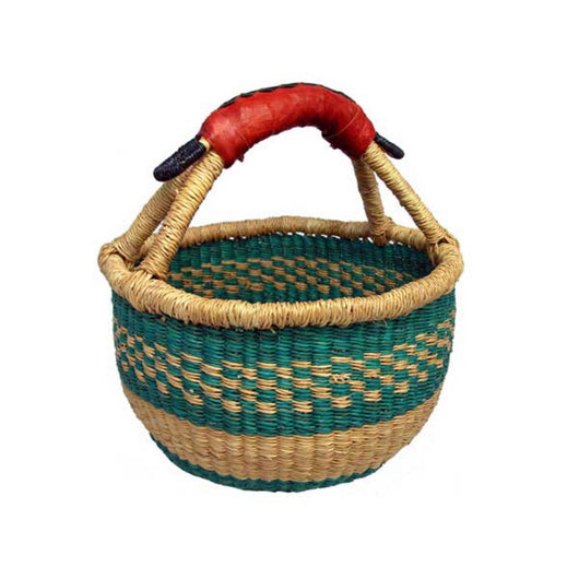 Handmade and Fair Trade Mini Round Basket with Leather Handle