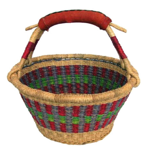 G-156 Bolga Fruit Round Basket with Leather Handle