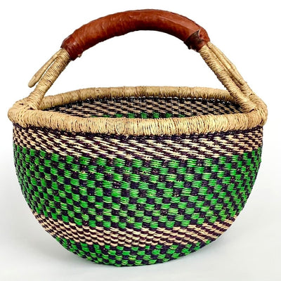 Bolga Round Market Basket with Handle
