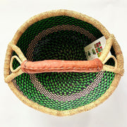Bolga Round Market Basket with Handle interior