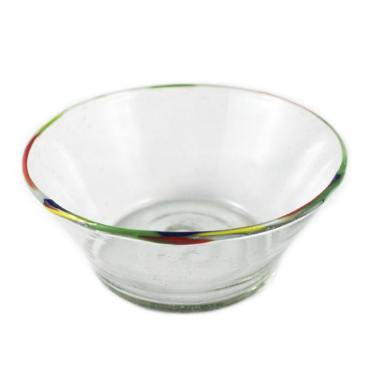Fair Trade Multi Color Rimmed Glass Bowl