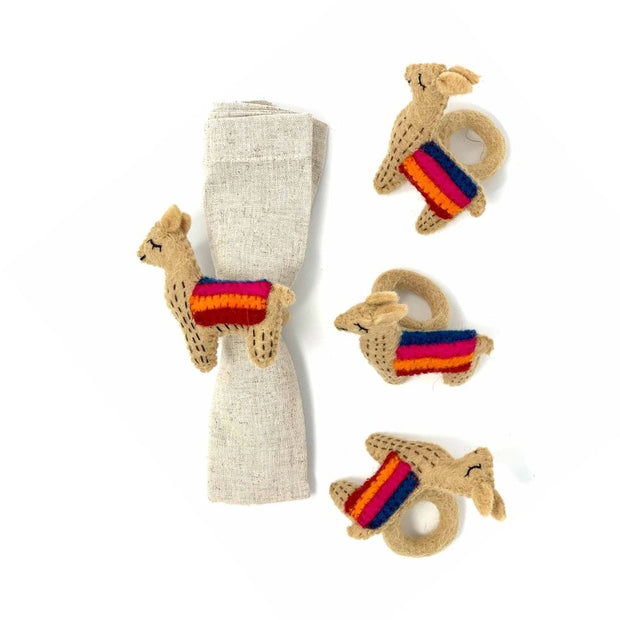Set of Four Felted Llama Napkin Rings