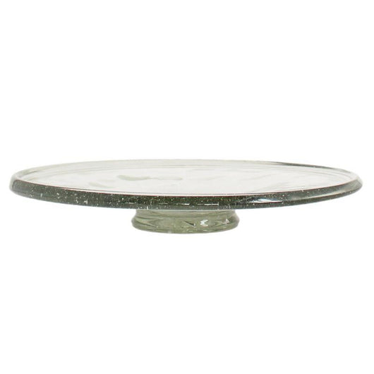 Hand Blown Recycled Glass Cake Plate