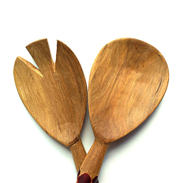 11-inch Zebra Wooden Salad Server Set detail