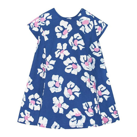 Global Mamas Girls Swing Dress Tropics Indigo Print
