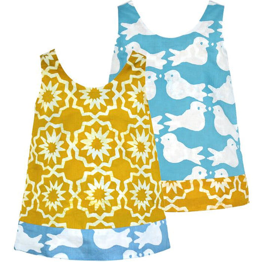 Global Mamas Girls 100% Organic Cotton Reversible Dress - Chroma Mustard