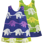 Global Mamas Girls Reversible Dress - Elephants in Blue and Lime