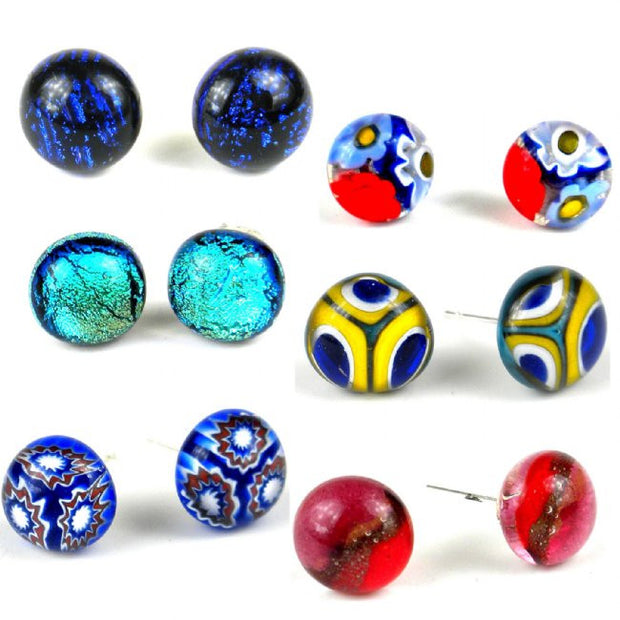 Small Round Glass Stud Earrings