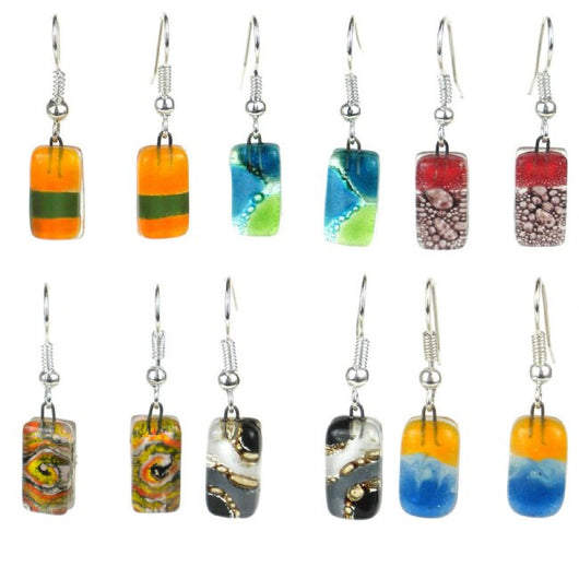 Small Rectangular Fused Glass Earrings