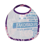 Hand-printed Batik Fabric Bib - Marina Purple reverse side