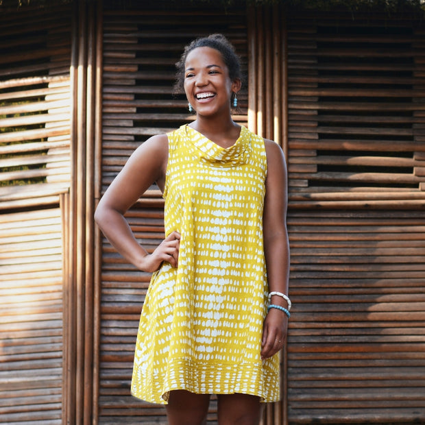 Fair Trade Batik Eli Dress-Monsoon Mustard by Global Mamas lifestyle