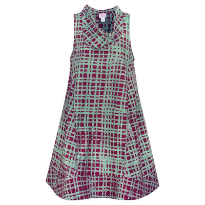 Global Mamas Organic Cotton Batik Eli Dress - Plaid Wine