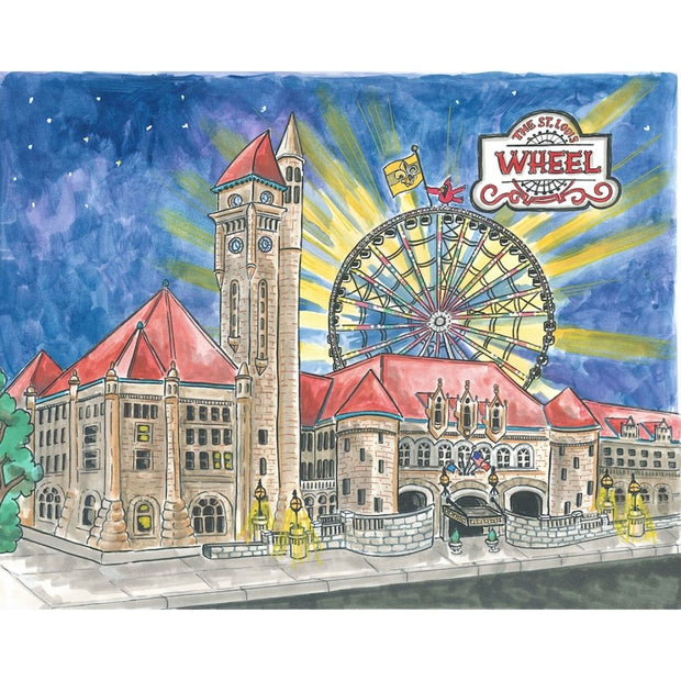 Goodnight St. Louis Hardcover Book Union Station wtih STL Wheel