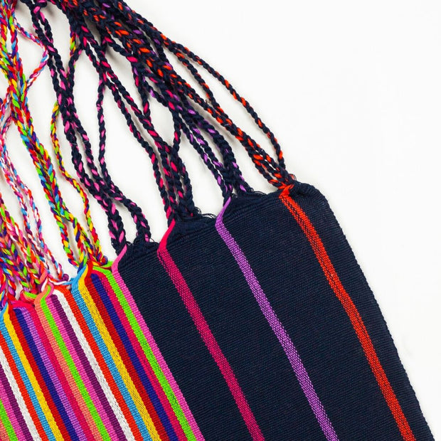 Chiapas Hammock Tote Bag - Navy Multi Stripe detail