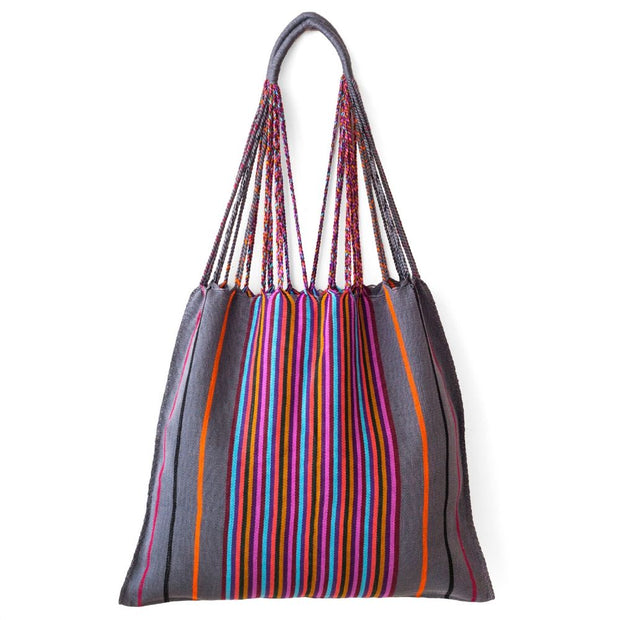 Chiapas Hammock Tote Bag - Grey Multi Stripe