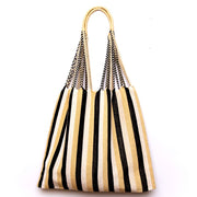 Chiapas Hammock Tote Bag - Black Beige Wide Stripe