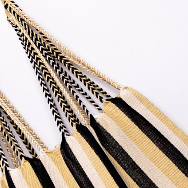 Chiapas Hammock Tote Bag - Black Beige Wide Stripe detail