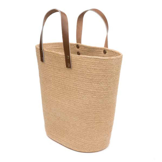 Natural Jute Shopper Basket with Leather Handles