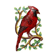 Cardinal on a Branch Recycled Metal Wall Art