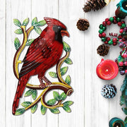 Cardinal on a Branch Recycled Metal Wall Art lifestyle