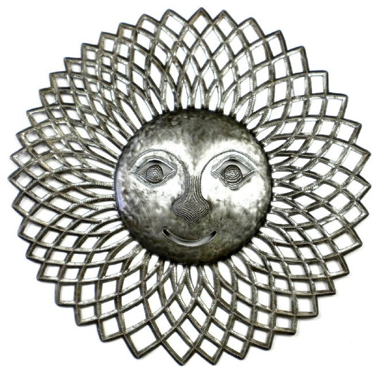 23-inch Radiant Sun Face Recycled Metal Wall Art