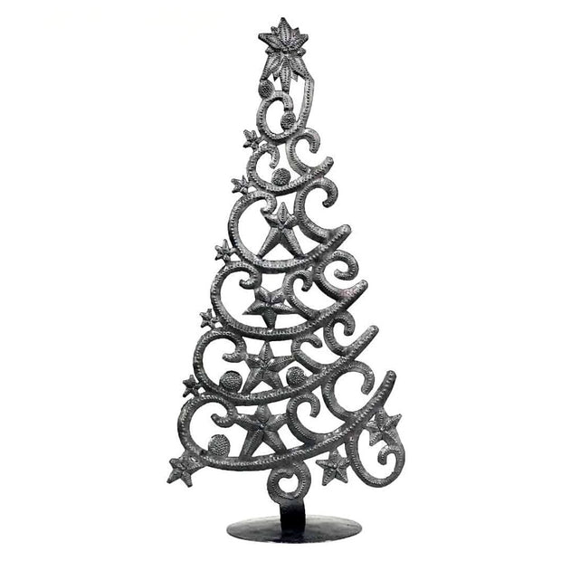 Recycled Metal Christmas Tree with Stars