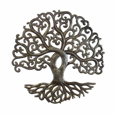 14-inch Curly Tree of Life Recycled Metal Wall Art