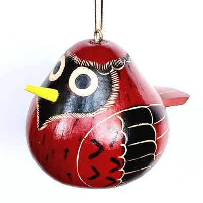 Hand-carved Birdie Cardinal Gourd Christmas Ornament