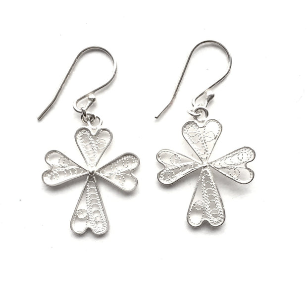 Handmade and Fair Trade Filigree Cross Sterling Silver Earrings