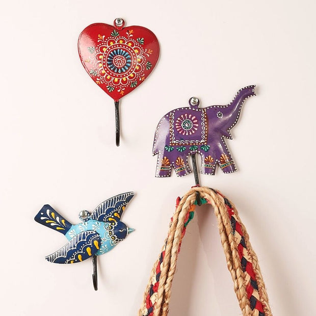 Hand-Painted Henna Treasure Metal Hooks - wall displays