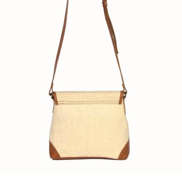 Havely Cotton and Leather Crossbody Bag backview