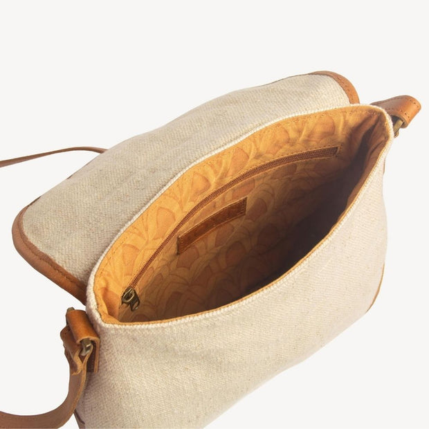 Havely Cotton and Leather Crossbody Bag interior