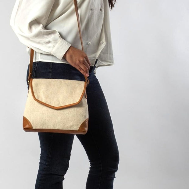 Havely Cotton and Leather Crossbody Bag model