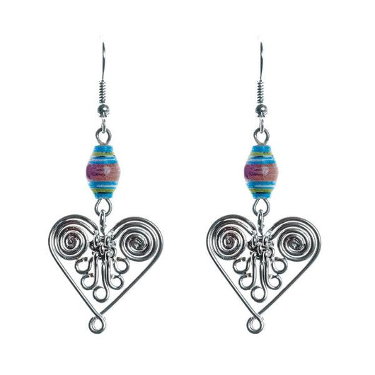 Healing Hearts Wire and Paper Bead Earrings