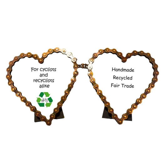 Recycled Bike Chain Double Heart Picture Frame – Zee Bee Market LLC