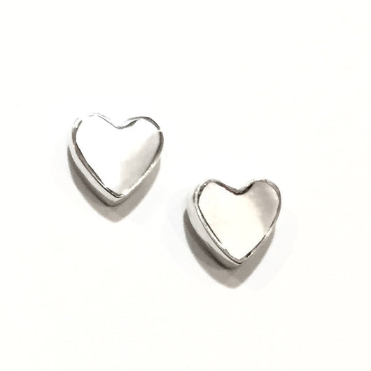 1/8 inch Sterling Silver and Mother of Pearl Heart Stud Earrings